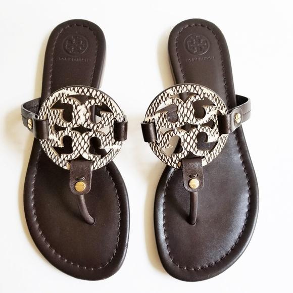 a86e5014e Tory Burch Miller Brown Cream Sandals. M 5b3d08558ad2f9eea41da917